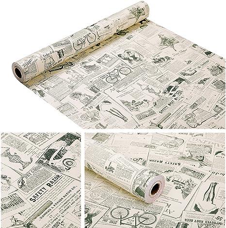 Teemall 17x118 Inch Self Adhesive PVC Vintage Newspaper Contact Paper Vinyl Shelf Drawer Liner Home Decor Newspaper