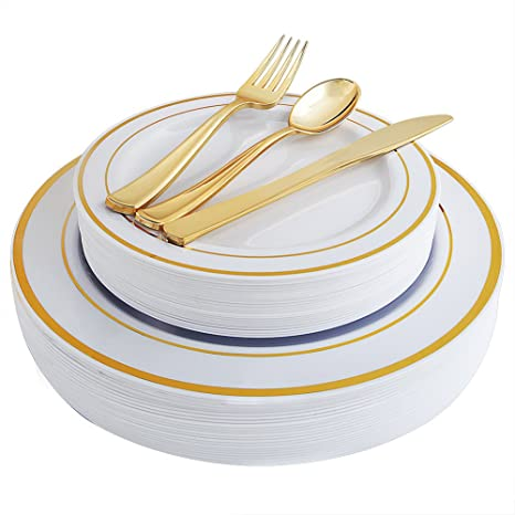 100 Piece Gold Plastic Plates with Gold Silverware Premium Plastic Dinnerware Set Includes  20  sc 1 st  Amazon.com & Amazon.com: 100 Piece Gold Plastic Plates with Gold Silverware ...