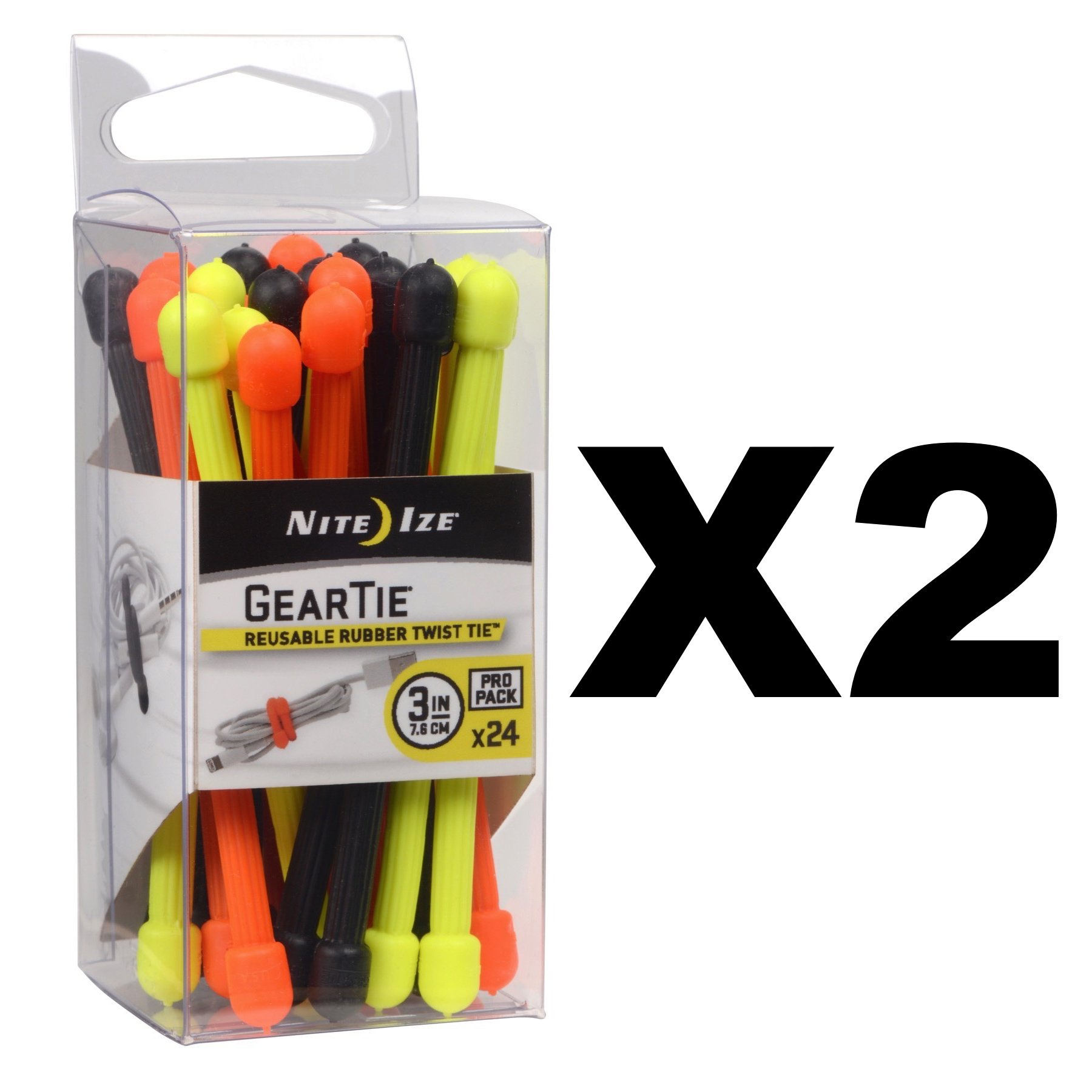 Nite Ize Gear Tie ProPack 3'' Multi-Colored Twisty Ties Durable (2-Pack of 24) by Nite Ize