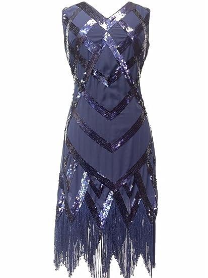 4e5cba5ced7b Great Gatsby Flapper Downton Charleston 1920s Dark Blue Sequin Tassle Hem  Dress: Amazon.co.uk: Clothing