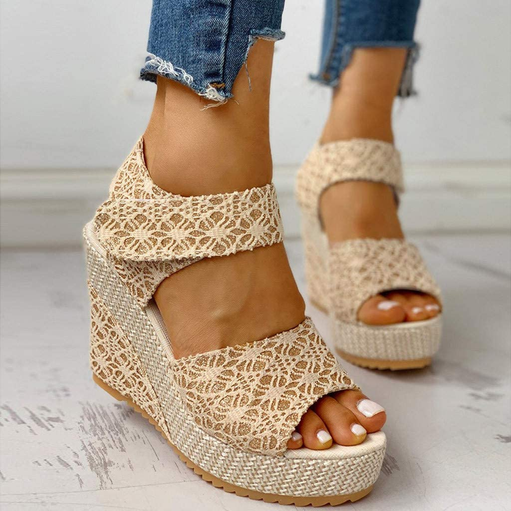 Wedge Sandals for Womens Wide Width Ladies Espadrille Platform Open Toe Lace Up Ankle Wrap Summer Dot Sandals Shoes