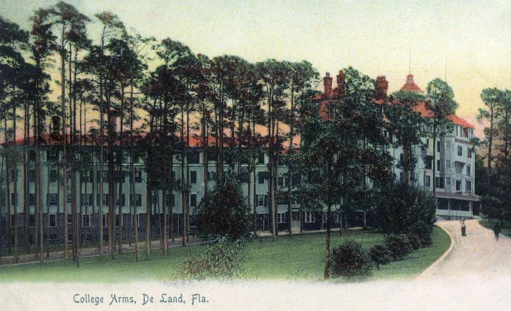 Deland, Florida - College Arms Exterior View (8oz Whole Bean Small Batch Artisan Coffee - Bold & Strong Medium Dark Roast w/Artwork) by Lantern Press (Image #4)