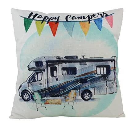 Amazon com: UniikStuff Happy Camper RV   Pillow Cover   18 x