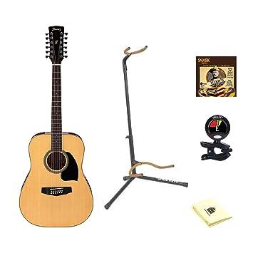 Ibanez Performance Series pf1512 Dreadnought Guitarra Acústica en Natural con gamuza de limpieza, púas, sintonizador, y soporte: Amazon.es: Instrumentos ...