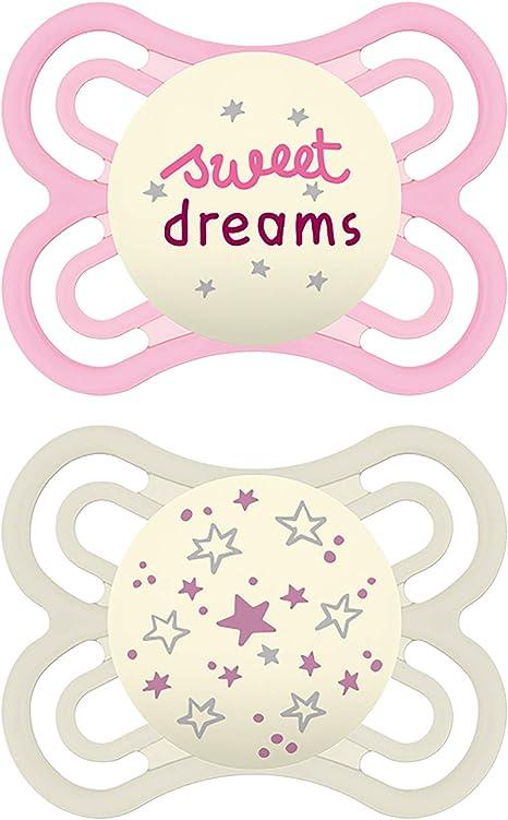 Chupetes MAM Perfect Night Chupetes que brillan en la oscuridad, chupete MAM de 0 a 6 meses, el mejor chupete para bebés amamantados, chupete bebé niño, Niña, rosa-púrpura, 0-6 Meses: Amazon.es: Bebé