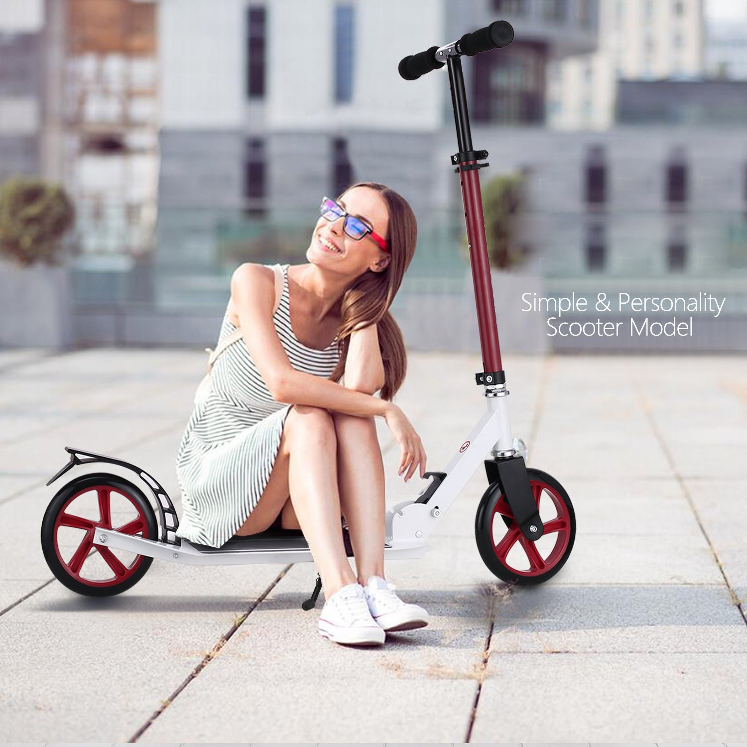 Fast Adult Scooter with 3 Seconds Easy-Folding System,220lb Folding Adjustable Scooter with Disc Brake and 200mm Large Wheels (Red)