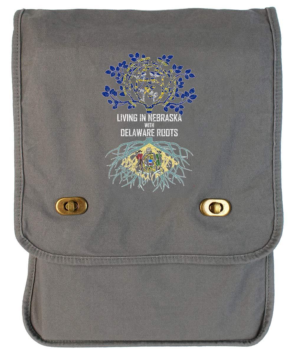 Tenacitee Living In Nebraska with Delaware Roots Grey Brushed Canvas Messenger Bag