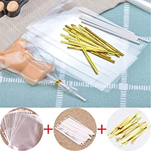 YESON 300 pcs Lollipop Cake Pop Kit Including 100 Lollipop Sticks, 100 Lollipop Bags and 100 Twist Ties, Lollipop Candy Wrappers Accessories Set
