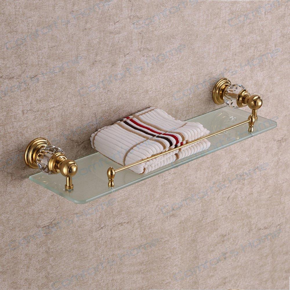 Comfort's Home SJ5613G Modern Wall Mounted Bathroom Glass Shelf, Crystal Gold