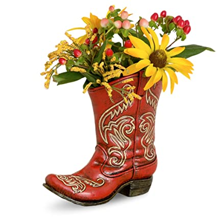 Amazon Deleon Collections Western Red Boot Vase Home Kitchen