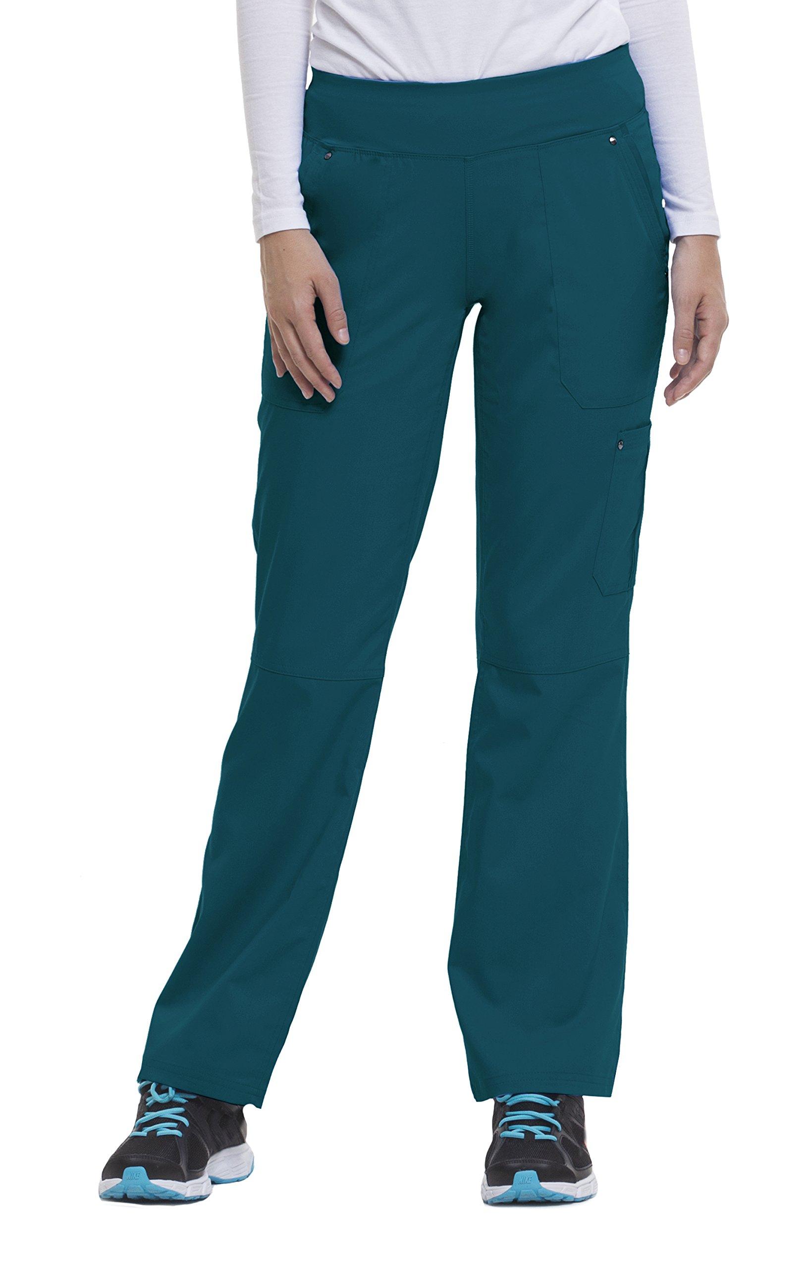 Purple Label Yoga Women's Tori 9133 5 Pocket Knit Waist Pant by Healing Hands- Caribbean- Medium Petite