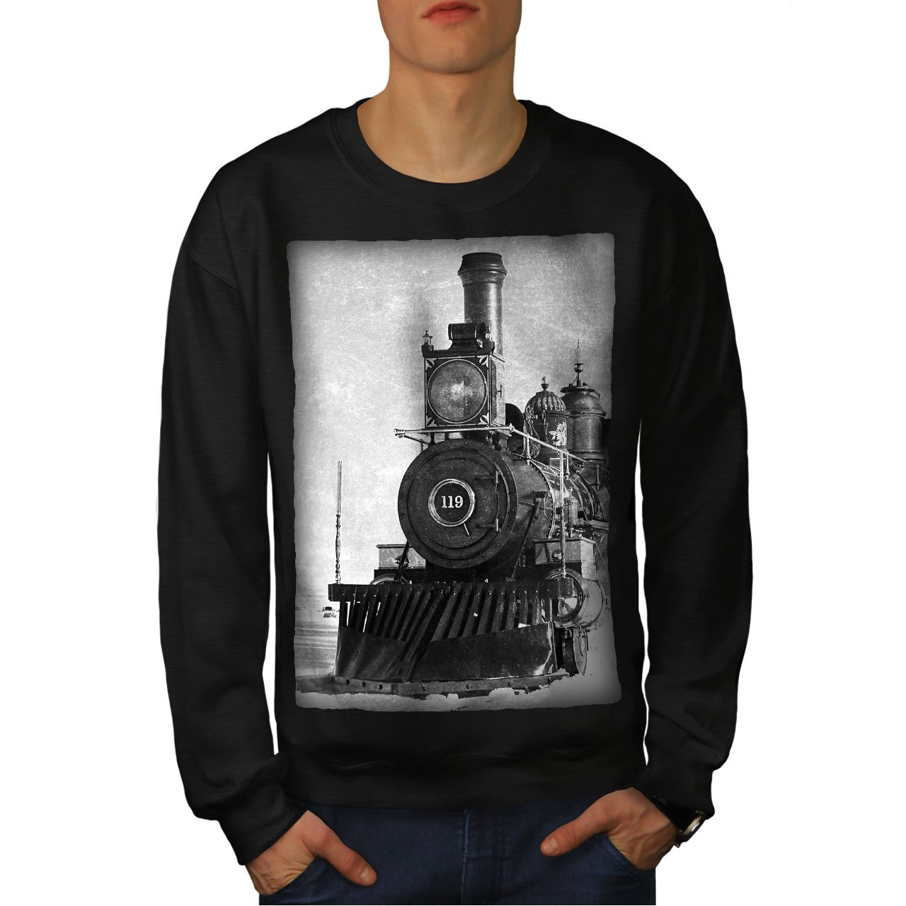 wellcoda Retro Train Picture Mens Sweatshirt Vintage Casual Jumper