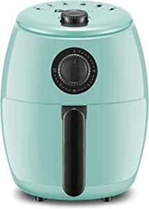Maxi-Matic EAF-0201BL Personal Compact Space Saving Electric Hot Air Fryer Oil-Less Healthy Cooker, Timer & Temperature Controls, PFOA/PTFE Free, 1000-Watts, Mint 2.1 Quart