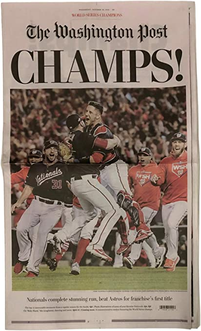 Framed Size: 11 x 14 Max Scherzer Washington Nationals 2019 World Series Champions Celebration Photo on Canvas