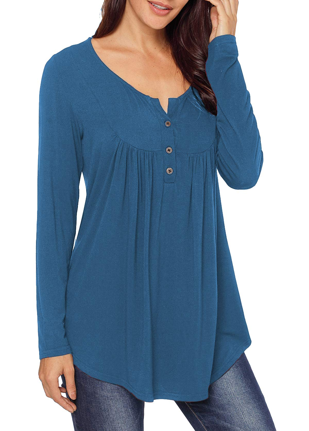 Mystry Zone Women's Blouse Fit and Flare Style Long Sleeve Loose Fitting Top Navy Blue XX-Large