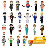 56 PCS Magnetic Dress-up Pretend Play Doll Set with 21 Occupations Jobs, Perfect for Preschool Learning