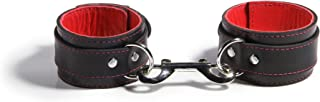 product image for Mercer Lambskin-Lined Leather Bondage Ankle Cuffs, Black/Red