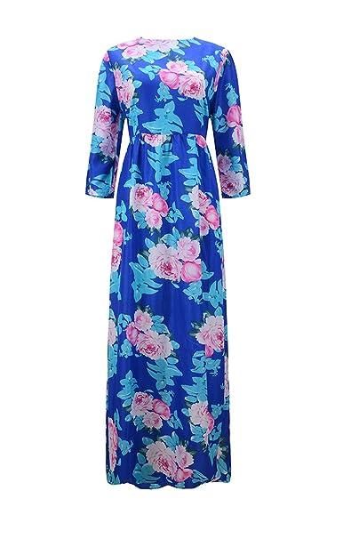 YACUN Mujeres Floral manga 3/4 de las vestida Swing Vestido de fiesta largo: Amazon.es: Ropa y accesorios