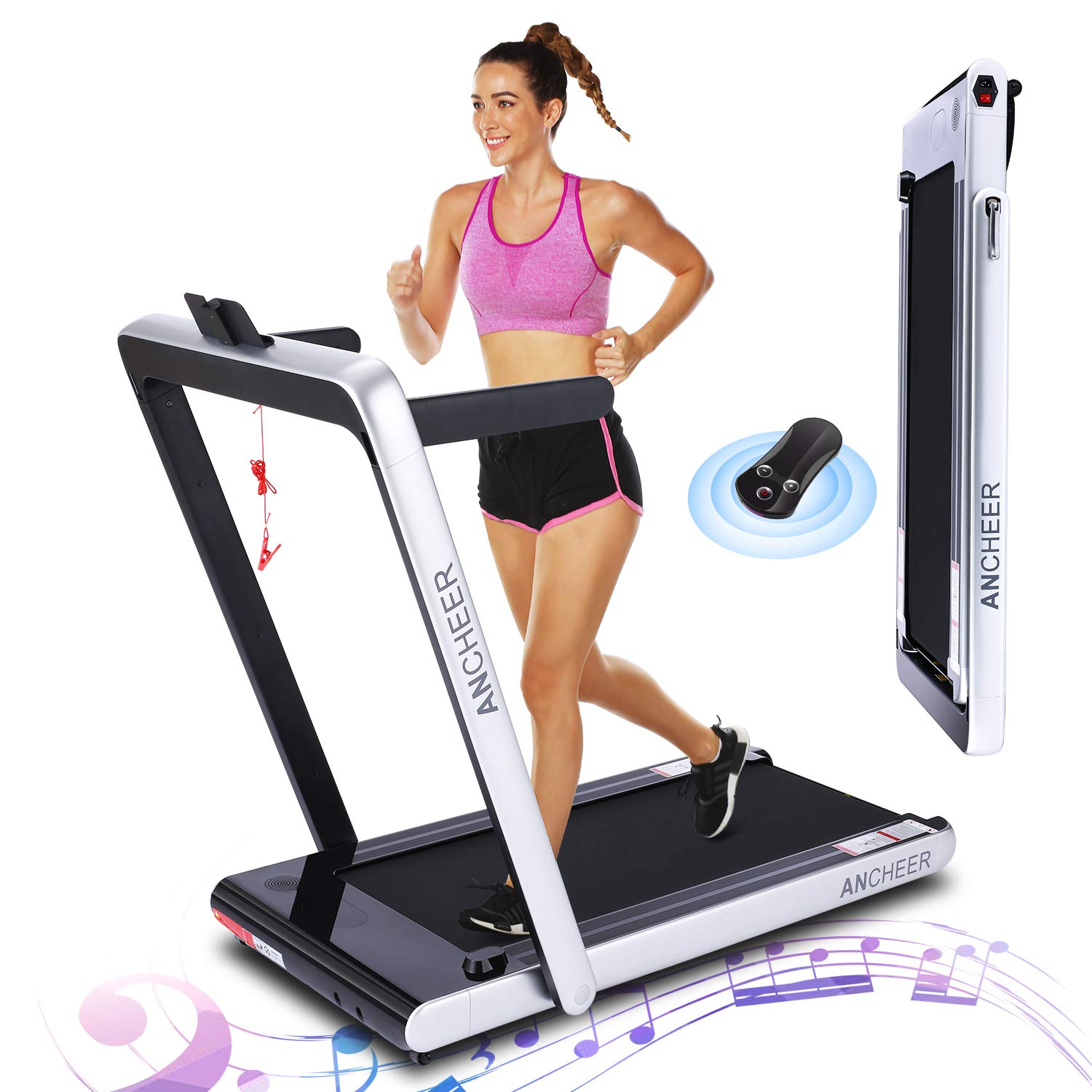 ANCHEER 2 in1 Folding Treadmill, 2.25 HP Smart Walking Running Machine with Bluetooth Audio Speakers, Under Desk Treadmill for Home Gym Cardio Fitness