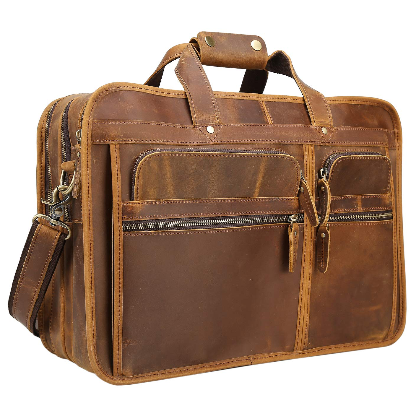 Texbo Men's Solid Full Grain Cowhide Leather Large 17 Inch Laptop Briefcase Messenger Bag Tote 309