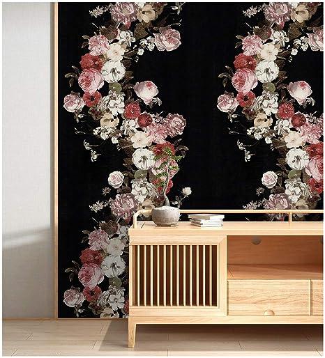 HaokHome 690106 Vintage Rose Flower Wallpaper Floral Black/Pink/White Home  Bedroom Wallpaper 20.8\