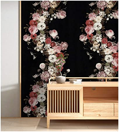 HaokHome 690106 Vintage Rose Flower Wallpaper Floral Black/Pink ...