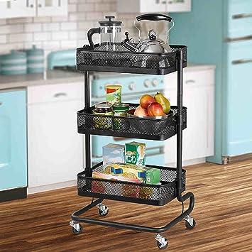 Zhiwujia estantes de Acero Inoxidable Carritos móviles para el hogar Estante Ruedas de Cocina Estantes de Almacenamiento Estantes de Acabado de ...