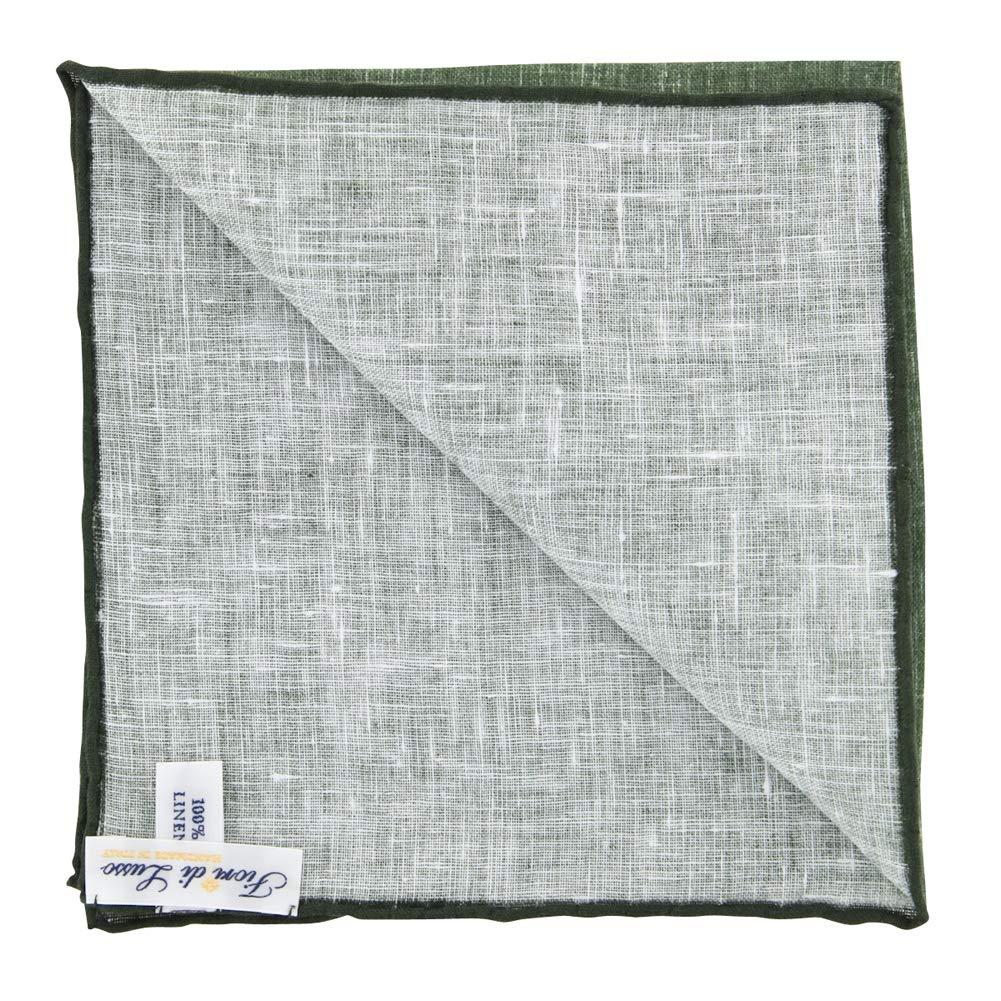x 12 New Fiori Di Lusso Olive Green Melange Pocket Square