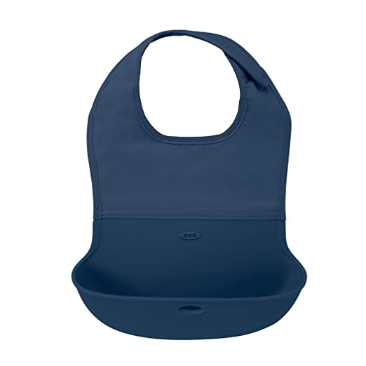 Amazon.com: OXO Tot Waterproof Silicone Roll Up Bib with Comfort-Fit Fabric Neck, Navy: Baby