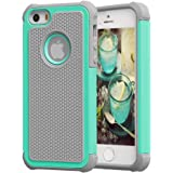 iPhone SE Case, iPhone 5/5S Case EXSEK  Impact Resistant Dual layer Protective Shockproof Defender Rugged Case for iPhone SE/5/5S (Turquoise+Grey)