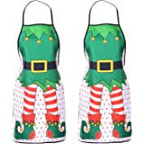DearHouse 2 Pack Christmas Elf Apron, Cute Adjustable Kitchen Chef Bib BBQ Cooking Funny Flirty Aprons for Adult,Holiday Kitchen Apron Funny Creative Thanksgiving