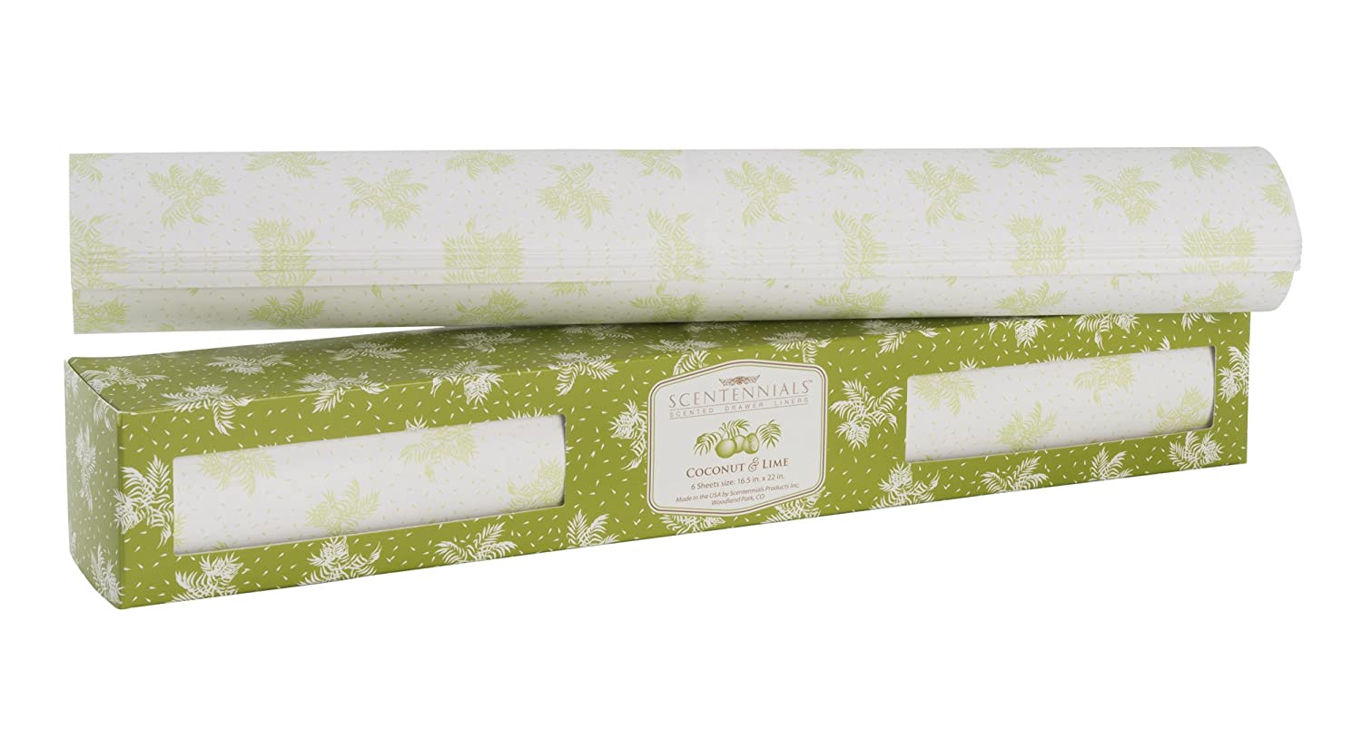 Scentennials COCONUT & LIME (6 SHEETS) Scented Fragrant Shelf & Drawer Liners 16.5