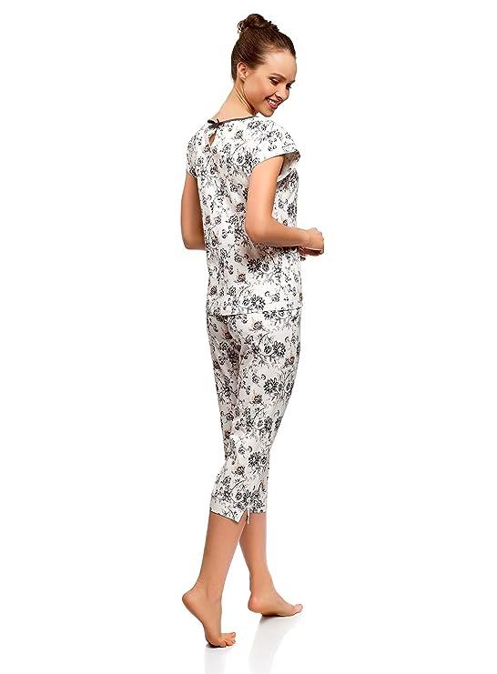 oodji Ultra Mujer Pijama con Pantalones Piratas Estampada: Amazon.es: Ropa y accesorios