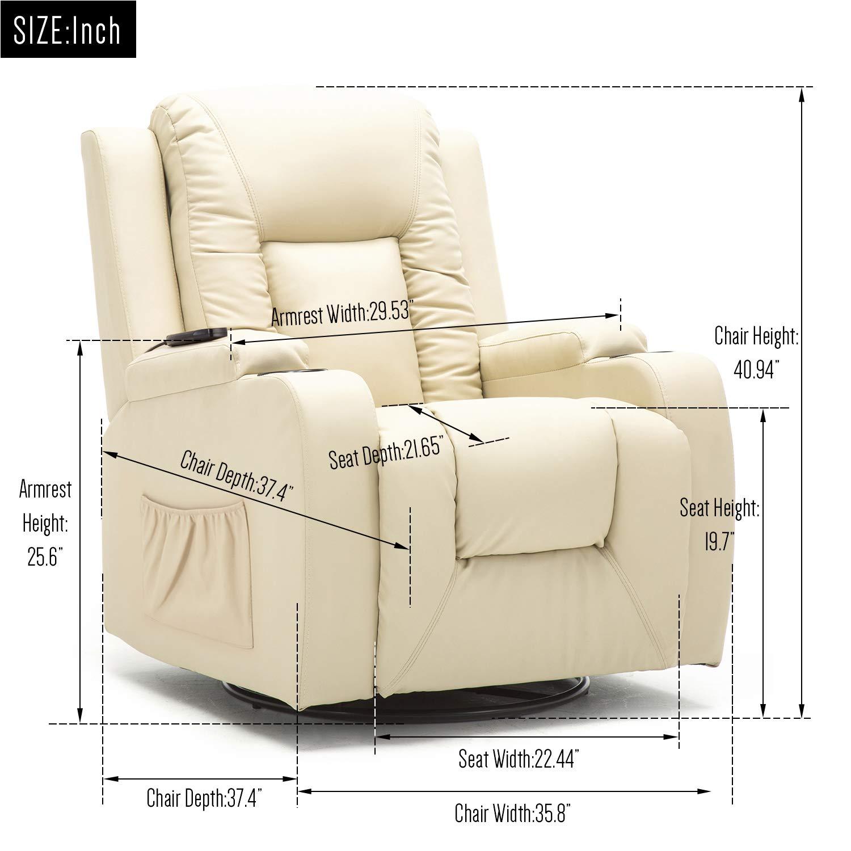 Amazon.com: ComHoma - Silla reclinable de piel con masaje ...