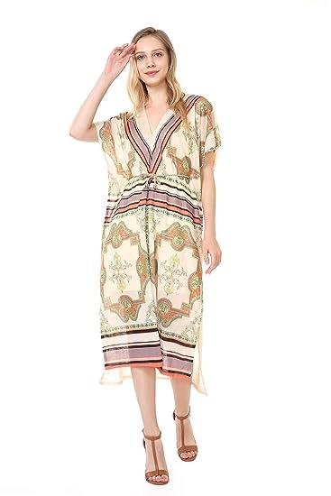 f4700eb403c Women s Bohemian V-Neck Vintage Printed Long Caftan Dress Cover up Shift  Dress (Free
