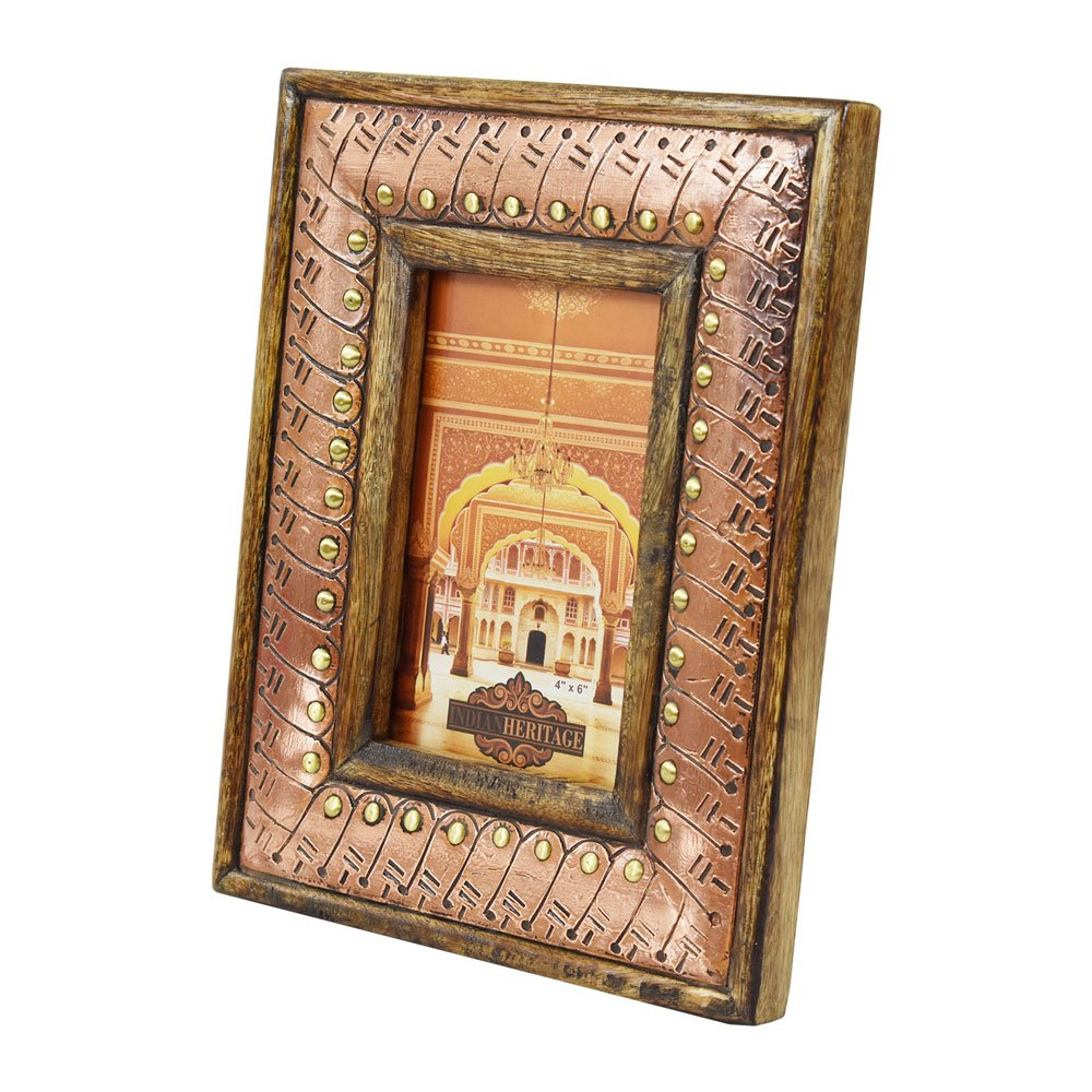 Indian Heritage Wooden Photo Frame 4x6 Mango Wood with Metal Cladding Design in Dark Wood Finish