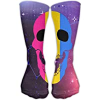 Knee High Socks Pansexual Flag Skul Novelty Athletic Crew Funny Tube Work Out Stockings With 50cm