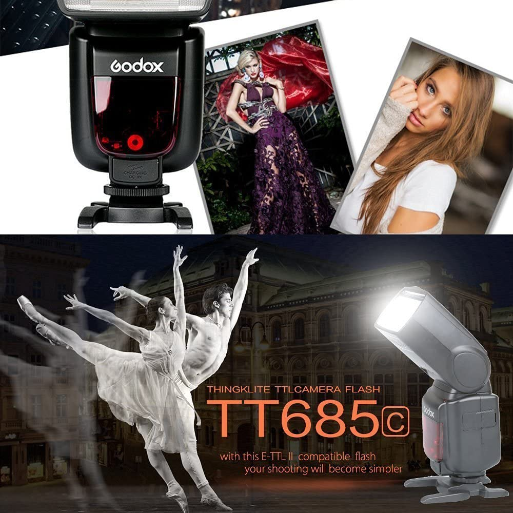 Godox TT685C Thinklite TTL 3X Camera Flash 2.4GHz High Speed 1//8000s GN60 Compatible for Canon Cameras E-TTL II Autoflash+X1T-C Wireless Transmitter Compatible for Canon EOS Series Cameras