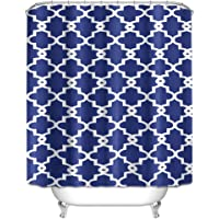 Shower Curtain Waterproof Durable Mildew Stain Resistant Moroccan Style Curtain For Bathroom (Moroccan Blue, Width 180…