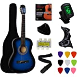 """YMC 38"""" Blue Beginner Acoustic Guitar Starter Package Student Guitar with Gig Bag,Strap, 3 Thickness 9 Picks,2 Pickguards,Pic"""