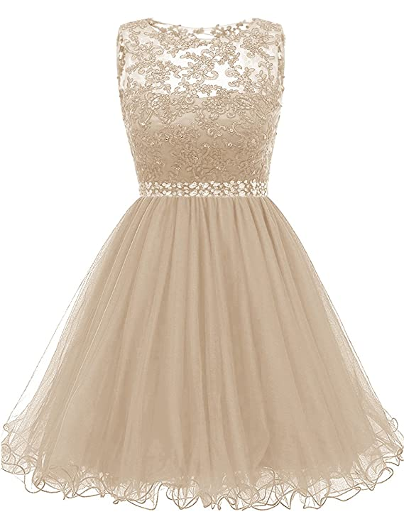 Review Himoda Lace Beaded Homecoming Dresses Sequined Appliques Cocktail Prom Gowns Short H010