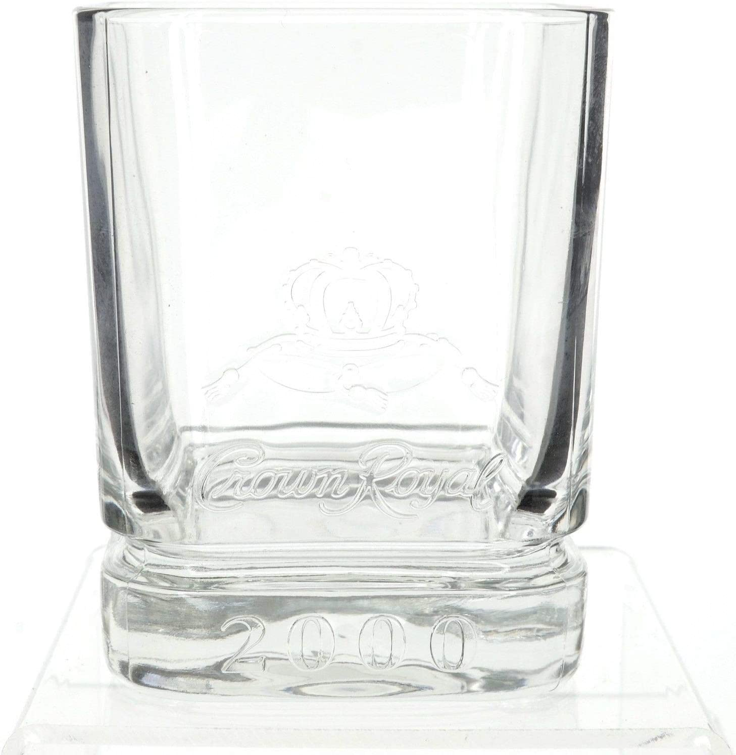 """Set of 2 Crown Royal 1/"""" Glass Logo Marble With Stands"""