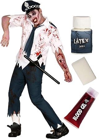 Disfraz de Policia zombie con set caracterizacion: Amazon.es: Ropa ...