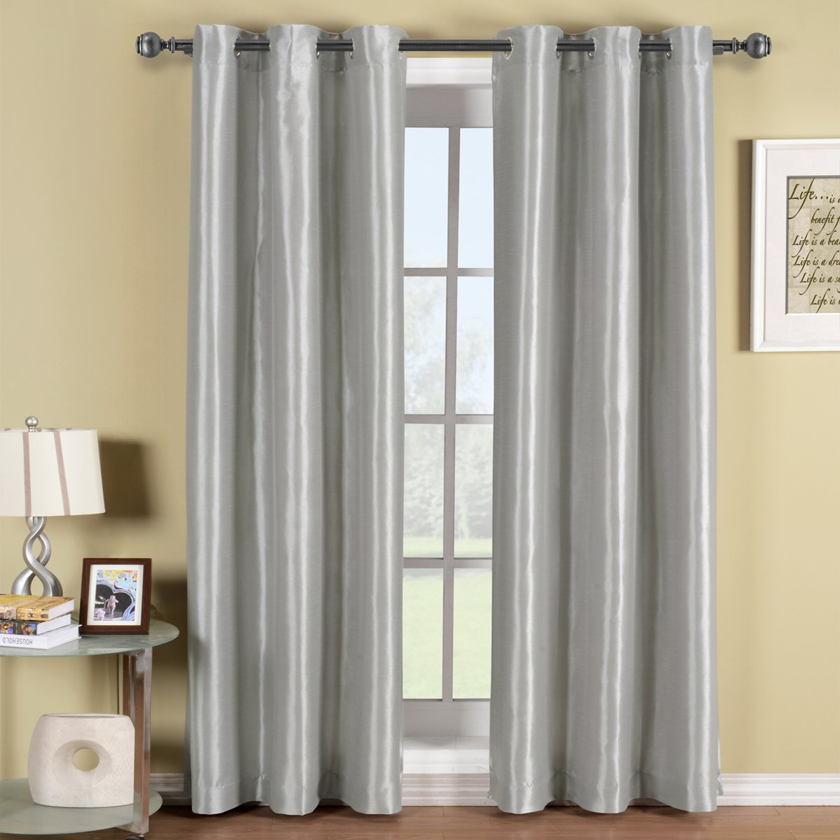 Soho Gray-Silver Grommet Blackout Window Curtain Panel, Solid Pattern, 42x84 inches, by Royal Hotel