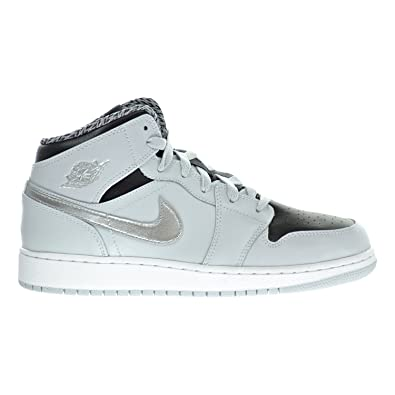6db4f2465057e Jordan Air 1 Mid BG Big Kids Shoes Pure Platinum White Silver Black