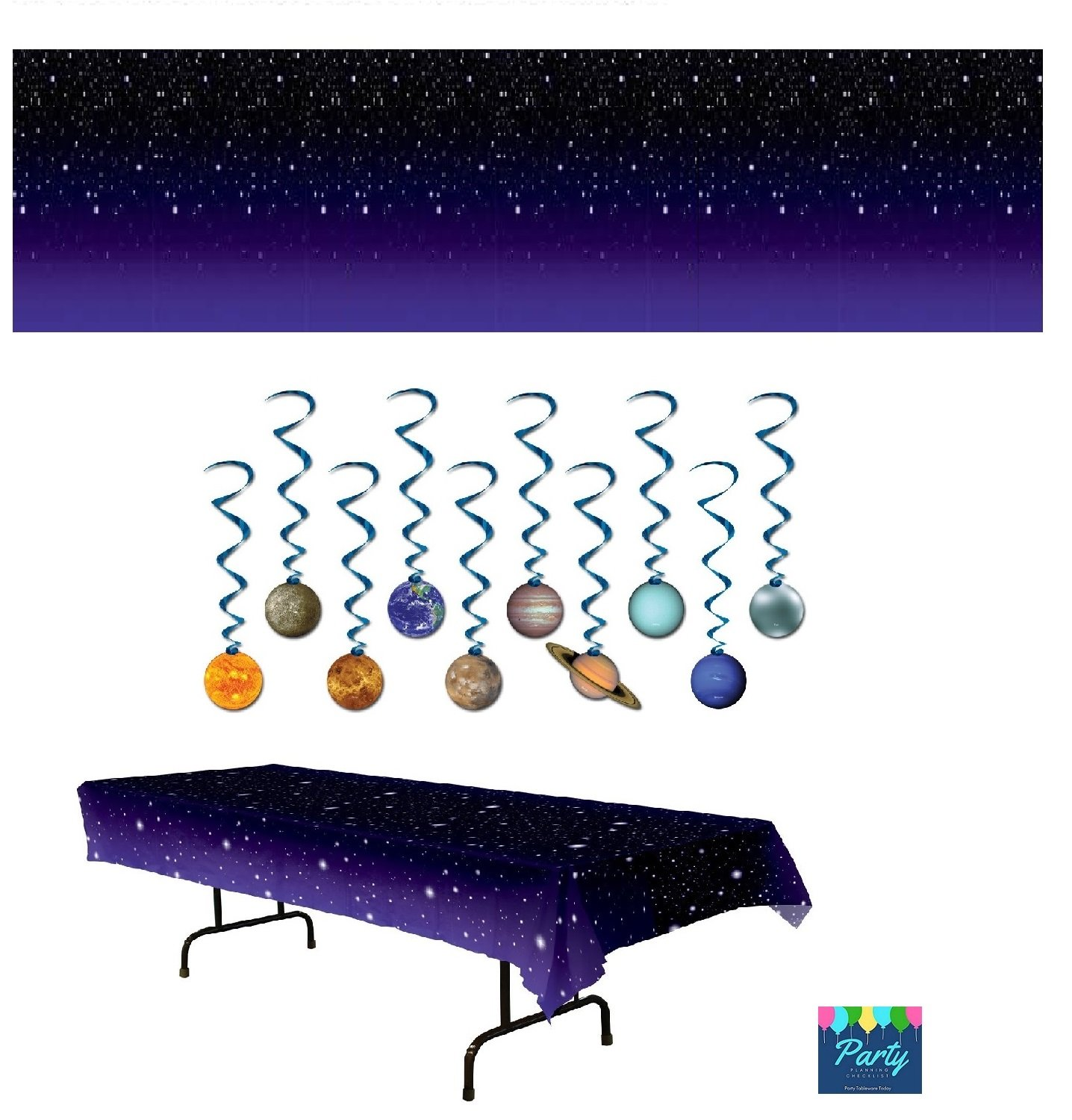 Space Party Supplies - Outer Space Stars Table Cover, Star Night Room Scene Setter Back Drop, and Solar System Planet Swirl Decorations