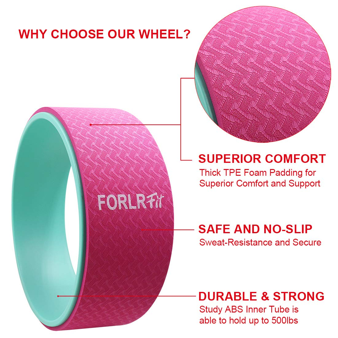 FORLRFIT Yoga Wheel-12.6 x 5 Strong /& Comfortable Yoga Prop Wheel for Yoga Poses,Perfect for Stretching,Improving Flexibility and Backbends,Relieve Back Pain