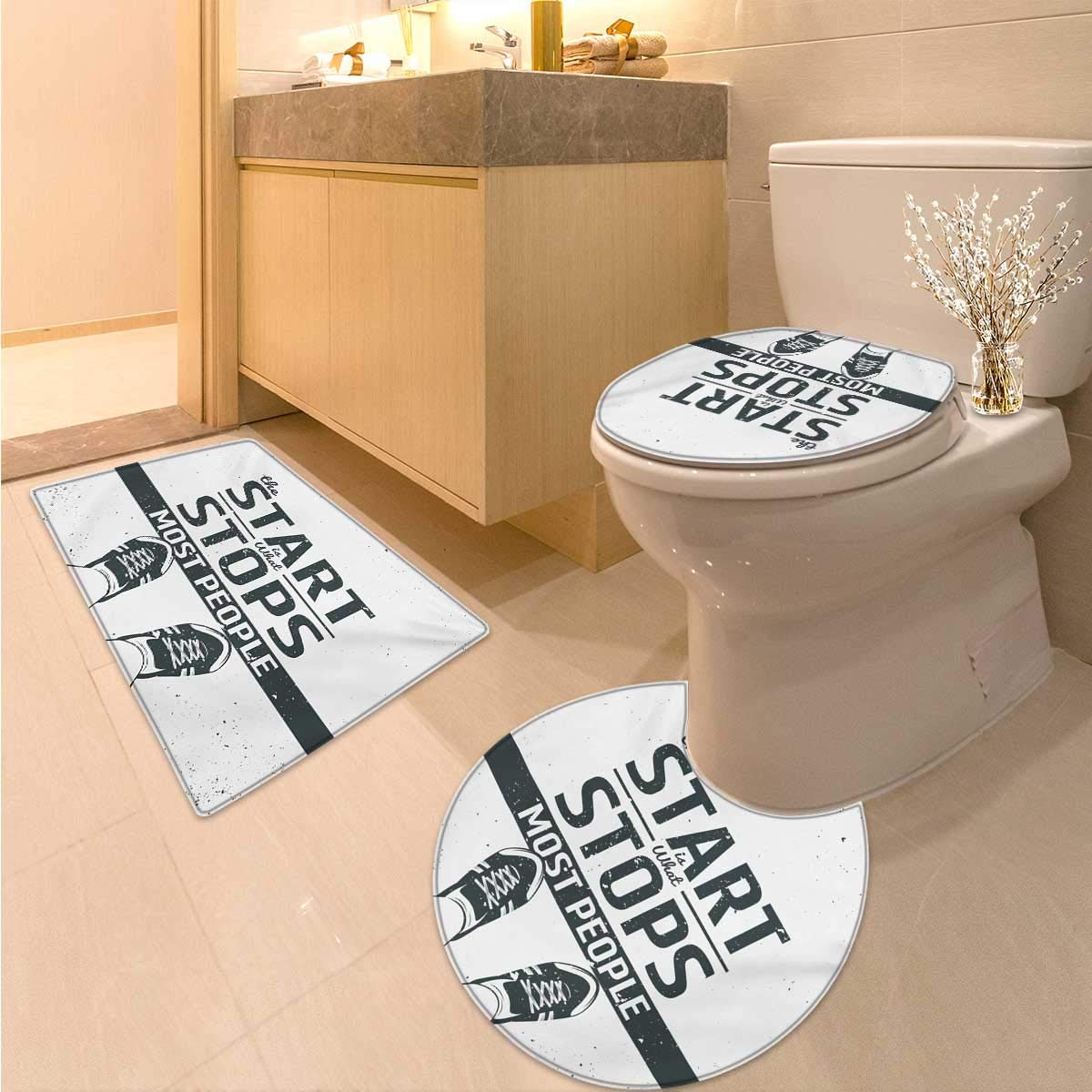 Quote bathroom and toilet mat set modern motivational and inspiring quotation with teenager artwork image print 3 piece anti slip mat set coconut black