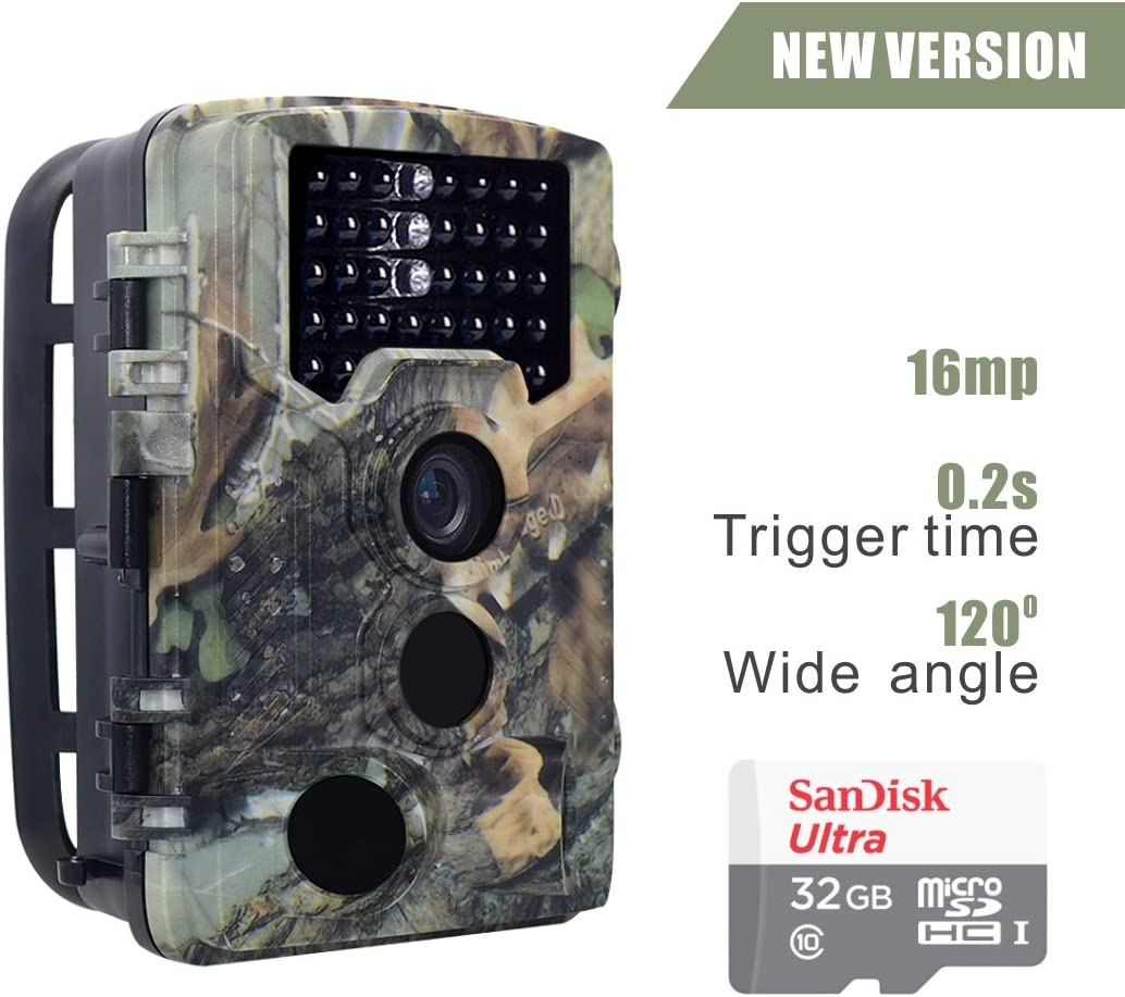 Oikkei 16MP HD Wildlife Camera Train Game Home Security, Infrared Scouting Cameras 1080P Night Vision up to 65ft with 46pcs IR LEDs PIR 120 Degree and IP56 Waterproof