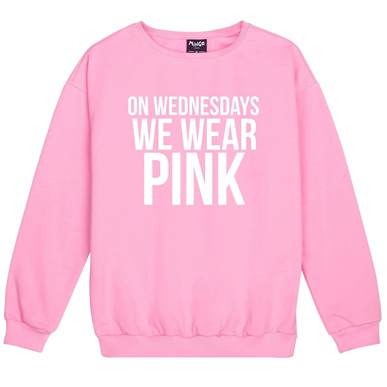 Minga London Wednesdays Wear Pink Sweater Mean Girls Women's WEDNESDAYPINKSWEATER1